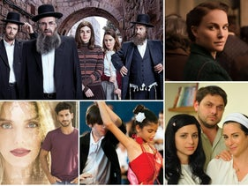 """Clockwise from left: """"Shtisel,"""" """"A Tale of Love and Darkness,"""" """"Fauda,"""" """"Srugim,"""" """"Dancing in Jaffa"""" and """"The Baker and the Beauty."""""""