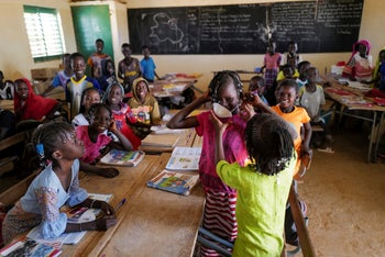Schoolchildren attend an awareness course about coronavirus at their classroom in Haliouri village, near Matam, Senegal. March 6, 2020