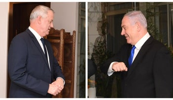 This photo montage show Benny Gantz (L) and Benjamin Netanyahu as they prepare for elbow bumps with President Reuven Rivlin at the President's residence in Jerusalem, March 15, 2020.