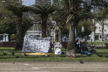 Tents set up by homeless people in Tel Aviv.