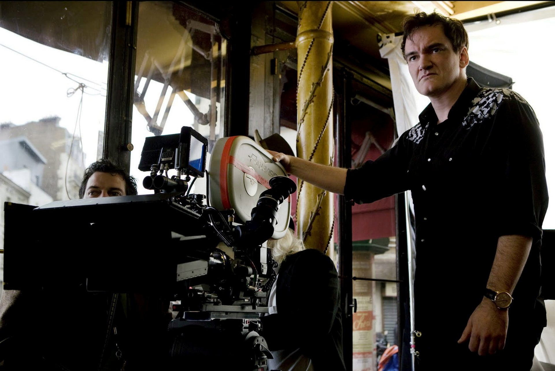 Quentin Tarantino during the filming of 'Inglourious Basterds.'