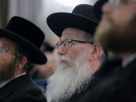 Health Minister Yaakov Litzman at an election event, Kiryat Gat, February 25, 2020