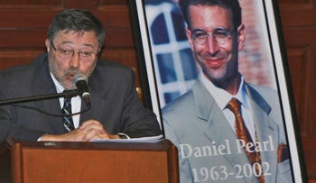 In this April 15, 2007, file photo, Dr. Judea Pearl, father of American journalist Daniel Pearl, who was killed by terrorists in 2002, speaks in Miami Beach, Fla