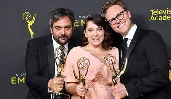 In this file photo Adam Schlesinger (L), Rachel Bloom and Jack Dolgen pose with the Outstanding Original Music and Lyrics Award for 'Crazy Ex-Girlfriend' in the press room during the 2019 Creative Arts Emmy Awards on September 14, 2019 in Los Angeles, California