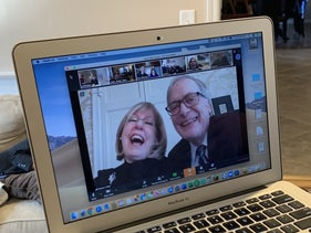 Max Leber's kvelling grandparents, Stuart and Joan Mitnick,participating in his bar mitzvah ceremony via Zoom.