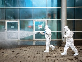 A disinfecting operation underway at Jerusalem's Hadassah University Hospital, Ein Karem, late last month.
