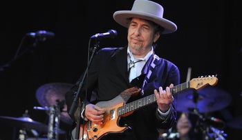 Bob Dylan performing at a concert in France in 2012.