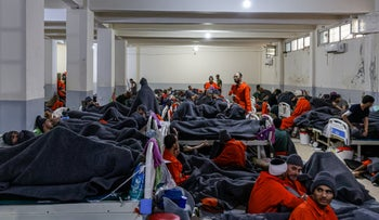ISIS detainees in the hospital wing of Hasakah prison, northeastern Syria, December 2019.