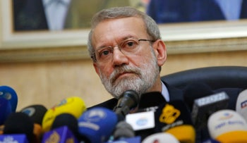 Iran's parliament speaker Ali Larijani attends a press conference at the Iranian embassy in Beirut, Lebanon, February 17, 2020.