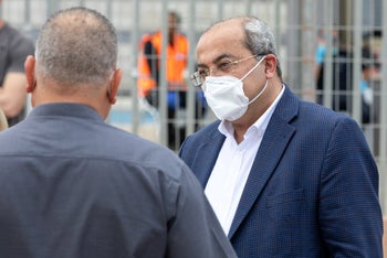 Lawmaker Ahmad Tibi from the Joint List of predominantly Arab parties, after undergoing a coronavirus test in Tira, central Israel, April 2020.