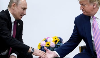 Russia's President Vladimir Putin attends a meeting with US President Donald Trump during the G20 summit in Osaka on June 28, 2019