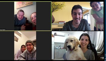 Omer Rabin, top right, in a video chat with family members. He will be stuck in New York for Passover.