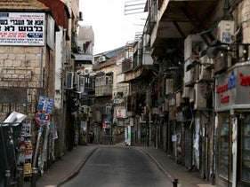 Shuttered shops and an empty street amid the coronavirus crisis in Mea Shearim neighborhood of Jerusalem, March 31, 2020
