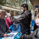 Israelis queuing at the entrance to the National Insurance Institute offices in Jerusalem, March 15, 2020.