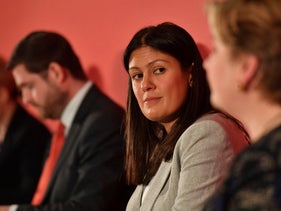 Lisa Nandy during the Labour leadership hustings in Nottingham, England. Feb. 8, 2020