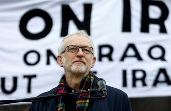 Former Labour Party leader Jeremy Corbyn speaks at a protest to oppose war with Iran and the presence of western troops in Iraq. London, January 11, 2020