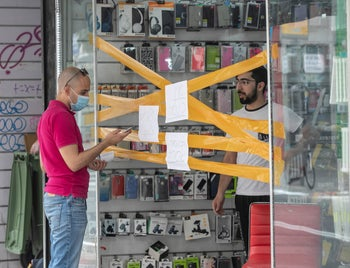 An electronics store in central Tel Aviv, Israel, April 5, 2020.