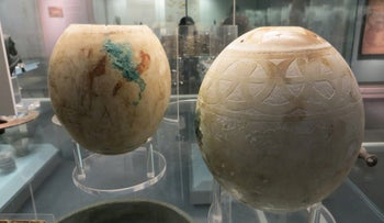 Decorated ostrich eggs from the so-called Isis Tomb, an Etruscan burial in Vulci, Italy