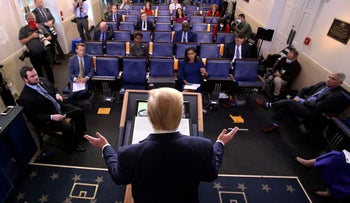 U.S. President Donald Trump addresses the daily coronavirus task force briefing at the White House in Washington, U.S., April 8, 2020.
