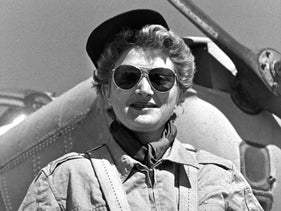 """Rina Levinson, during her air force service as a pilot in 1955. Later, a female Knesset member told her, """"I would not feel safe in a plane if I knew there was a woman at the wheel."""""""