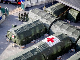 A field hospital being prepared at the Ostra Sjukhuset hospital area, amid the spread of the coronavirus disease (COVID-19), in Gothenburg, Sweden, March 24, 2020.