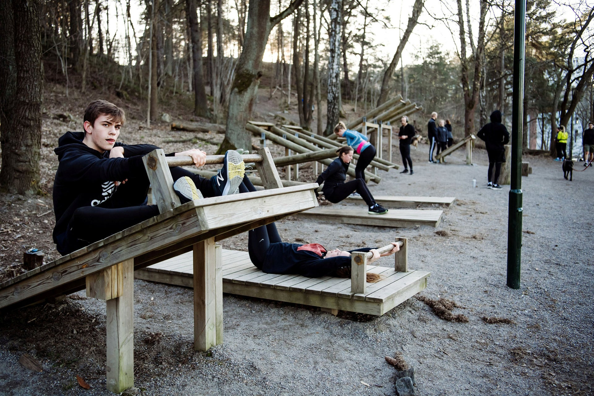 People train at an outdoor gym amid the spread of the coronavirus disease (COVID-19), on the outskirts of Stockholm, Sweden April 06, 2020.