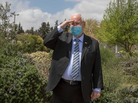 President Reuven Rivlin wearing a face-mask in accordance with coronavirus regulations, Jerusalem, April 7, 2020