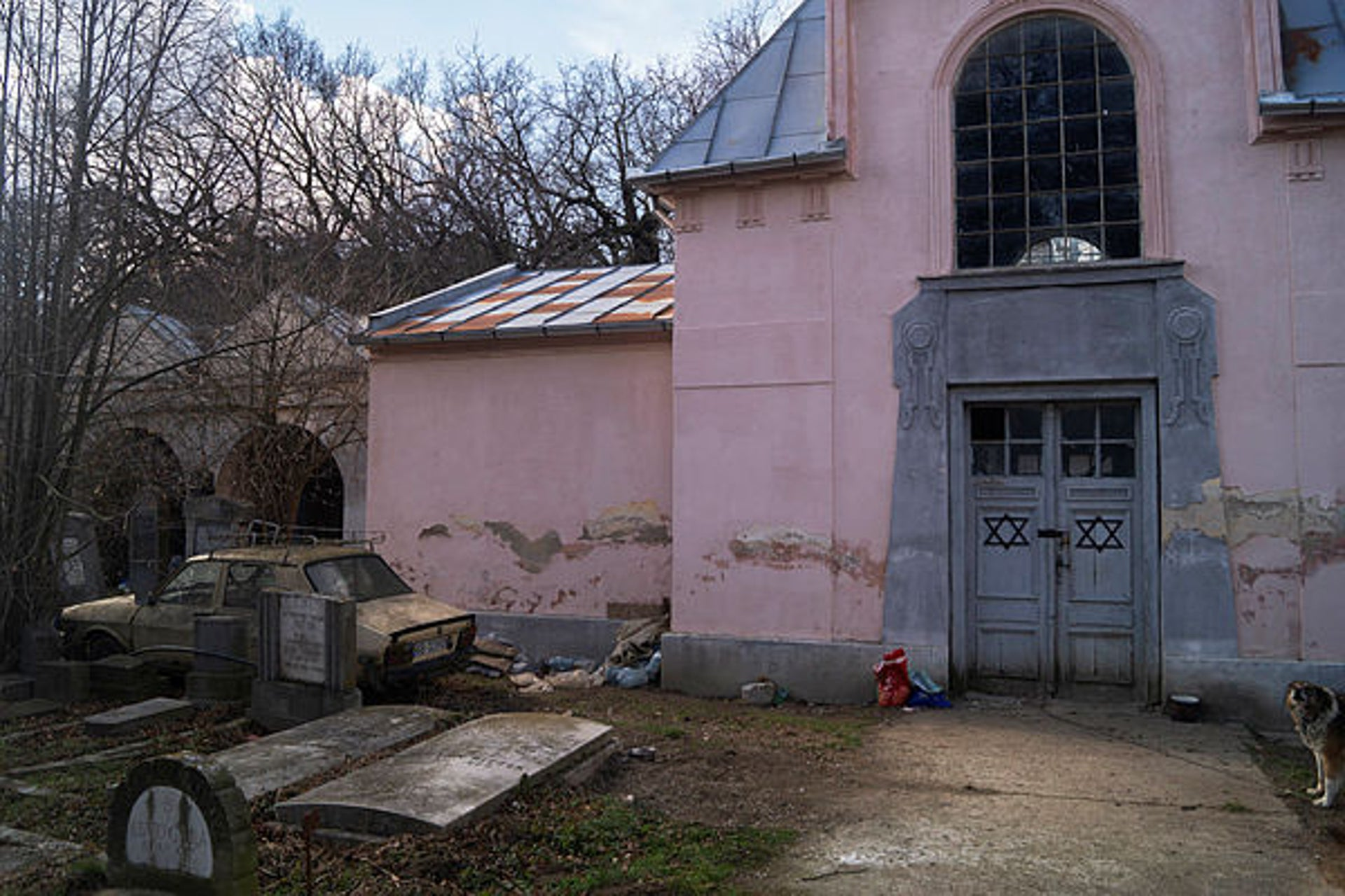 The dilapidated chapel at the entrance to the Jewish cemetery in Sibiu, Romania.