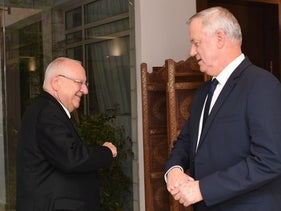 Gantz and Rivlin at the President's Residence, March 2020