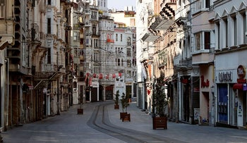 A general view shows the deserted Istiklal Street during a two-day curfew which was imposed to prevent the spread of the coronavirus disease (COVID-19), in Istanbul, Turkey, April 11, 2020