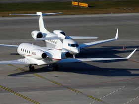 Two Gulfstream business aircraft at the airport in Zurich, Switzerland, January 20, 2020.