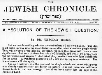 The front page of The Jewish Chronicle, from January 17, 1896, showing an article by Theodor Herzl.