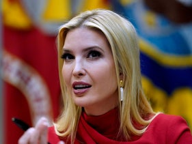 Ivanka Trump speaks at a 'small business relief update' video conference in the Roosevelt Room at the White House in Washington, April 7, 2020.