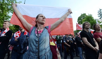Polish nationalists march to the U.S. Embassy in Warsaw, protesting U.S. pressure on Poland to compensate Jews whose families lost property during the Holocaust, May 11, 2019.
