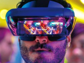 Augmented reality glasses, which fuse virtual elements with reality, on show at the 2018 Mobile World Congress in Barcelona.