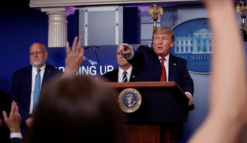 President Donald Trump points to a reporter to ask a question as he speaks about the coronavirus in the James Brady Press Briefing Room of the White House, April 16, 2020.