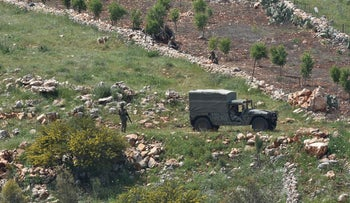 Lebanese forces on the Israel border, on Saturday, April 18, 2020.