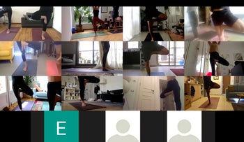 Yoga class on Zoom. From 'shoulder to shoulder' to 'screen to screen.'
