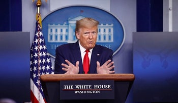 President Donald Trump speaks during a coronavirus task force briefing at the White House, Saturday, April 18, 2020, in Washington