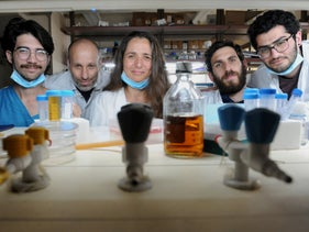 Dr. Naama Geva-Zatorsky with her team at the Technion Lab, April 16, 2020.
