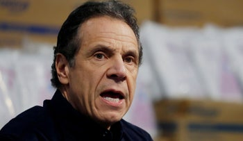 New York Governor Andrew Cuomo speaks during a news conference, New York
