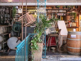 A bar stands closed due to the coronavirus restrictions, Tel Aviv, April 12, 2020
