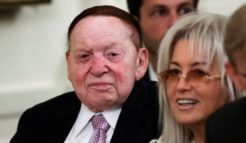 Sheldon and Miriam Adelson at a White House event, January 28, 2020.