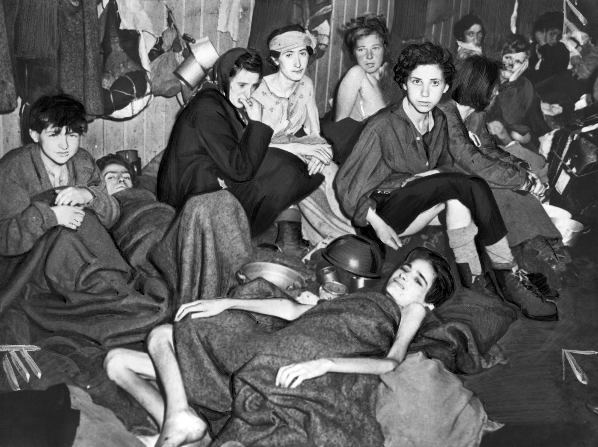 Women held at Bergen-Belsen, photographed after the camp's liberation