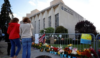 the Tree of Life synagogue in Pittsburgh on the first anniversary of the shooting, October 27, 2019.