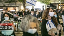 Protesters at the 'Black Flags' protest in Tel Aviv's Rabin Square, April 19, 2020.