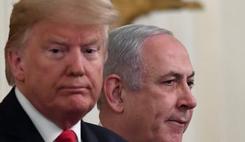 President Donald Trump and Prime Minister Benjamin Netanyahu during an event in the White House, Washington, January 28, 2020.