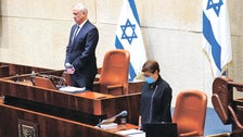 Benny Gantz at the Knesset on Holocaust Memorial Day, April 21, 2020.