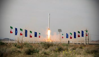 A first military satellite named Noor is launched into orbit by Iran's Revolutionary Guards Corps, in Semnan, Iran, April 22, 2020.