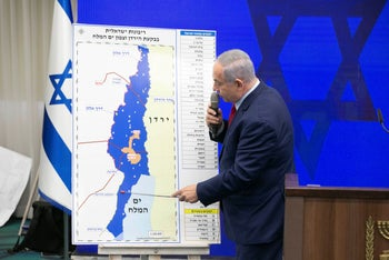 Prime Minister Benjamin Netanyahu presents annexation plans at a press conference ahead of the second round of Israel's elections, September 10, 2019.